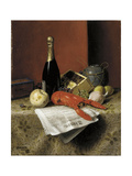 Still Life with Lobster  Fruit  Champagne and Newspaper  1882