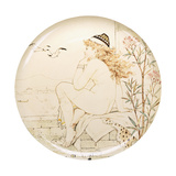 A Minton Art Pottery Studio Charger  Painted with a Nude Staring Out to Sea  19th Century