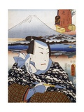 Portrait of Kabuki Theatre Actor in Front of Mount Fuji