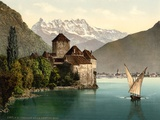 Chillon Castle  and Dent Du Midi  Geneva Lake  Switzerland  C1890-C1900