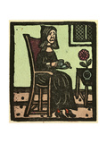 Illustration of English Tales Folk Tales and Ballads a Woman Drinking a Cup of Tea