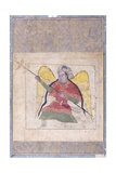 An Angel Wearing a Turban  Bearing a Staff  C1370-80 (Gouache with Gold Paint on Paper)
