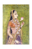 Portrait of a Lady Holding a Lotus  C 1740-1750 (W/C on Pink Coloured Paper)