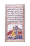 Khujista Talking to the Parrot  C 1580 (Gouache with Gold Paint on Paper)