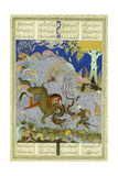 Rustem Slays the Dragon  C1500-1540S (Gouache and Gold Paint on Buff Paper)