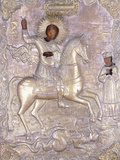 A Russian Icon of Saint George  Early 18th Century (Chased and Engraved Brass Oklad)