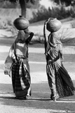 Woman in Ghunghat Balancing Pots on Head  Udaipur  Rajasthan  India  1976