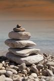 Stack of Stones  Zen Concept  on Sandy Beach