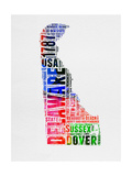 Delaware Watercolor Word Cloud
