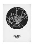 Cairo Street Map Black on White Reproduction d'art par NaxArt