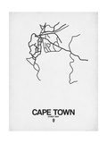 Cape Town Street Map White Reproduction d'art par NaxArt