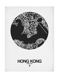 Hong Kong Street Map Black on White