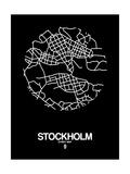 Stockholm Street Map Black Reproduction d'art par NaxArt
