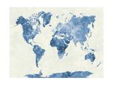 World Map in Watercolor Blue Reproduction d'art par Paulrommer