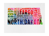 North Dakota Watercolor Word Cloud