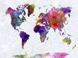 World Map in Watercolorpurple and Blue Reproduction d'art par Paulrommer