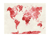 World Map in Watercolor Red