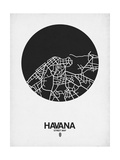 Havana Street Map Black on White Reproduction d'art par NaxArt