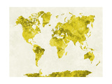 World Map in Watercolor Yellow