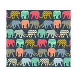 Baby Elephants and Flamingos (Variant 1) Reproduction d'art par Sharon Turner