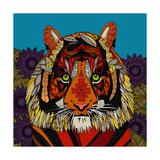 Tiger Chief Blue Giclée premium par Sharon Turner