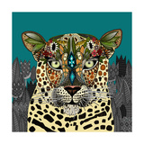 Leopard Queen Teal Reproduction d'art par Sharon Turner