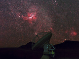 An Alma Telescope Photographed with a Special Deep Sky Filter to Reveal the Nebulosity in the Sky
