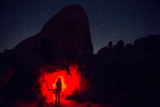 A Hiker with a Red Headlight Makes for an Eerie Photo in Joshua Tree National Park