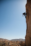 Joshua Tree National Park  California: A Trad Climber Rests While Climbing a Vertical Rock Face