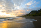 Osa Peninsula  Costa Rica: the Tide Rises at Sunset on a Remote Beach in Costa Rica