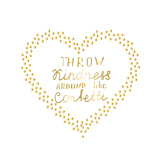 Motivational Words Gold Confetti Heart Shape Frame Hand Drawn Gold Letters Inspiration Quote