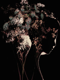 Young Womans Face in Silhouette Profile with Floral Montage