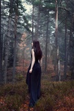 Young Woman Wearing Black Dress in Woods