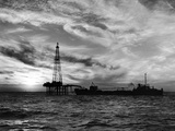 Sunset View of Humble Oil Co Drilling Operations on Derrick Off Coast of Louisiana