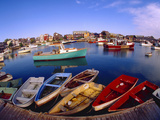 Town Buildings and Colorful Boats in Bay  Rockport  Maine  USA
