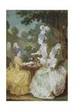 Marquise De Motesson  Marquise De Crest and Countess of Damas Having Tea in Garden