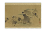 Landscape: Mountains  Stream and Boats  Edo Period