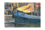 Anchored Boats with a House Wall in the Background  1908