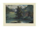 View of the Lake of Challes and Mont Blanc  1807-1808