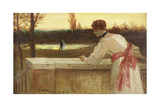 Girl on a Balcony Watching a Couple by a Lake