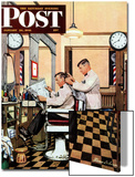 """Barber Getting Haircut "" Saturday Evening Post Cover  January 26  1946"