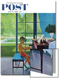 """Poolside Piano Practice "" Saturday Evening Post Cover  June 11  1960"