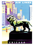 Chicago  USA - Bronze Lion Statues - Art Institute of Chicago - United Air Lines