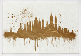 Gold NY Skyline Framed Art