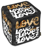 Four Letter Word Gold Ottoman