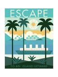 Vintage Travel Island Escape Reproduction d'art par Michael Mullan