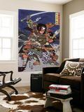 The Samurai Warriors Ichijo Jiro Tadanori and Notonokami Noritsune  Japanese Wood-Cut Print