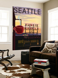 Seattle  Washington - Pike Place Market Sign and Water View