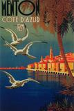 Menton  France - French Riviera Travel Poster No 1