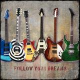 Guitar Line Up Reproduction d'art par Jim Baldwin